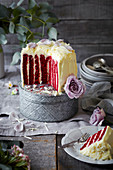 Vertical Layered Red Velvet Cake with Cream Cheese Icing