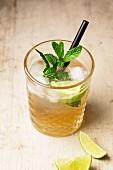 Ein Cocktail mit Gin, Ginger Ale und Minze