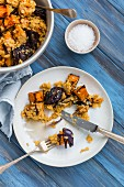 Cinnamon baked butternut squash with red onion and lentils