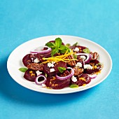 Sliced beet salad pecans