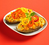 Stuffed baked potato with cheese and hot peppers