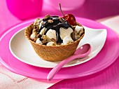 Ice cream sundae in a waffle bowl