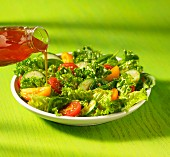 Green salad with tomatoes, cucumbers and spinach
