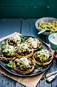 Sopes with guacamole and fried beans (Mexico)