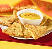 Toasted Naan with mango dip