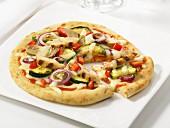 Chicken veggie pita pizza