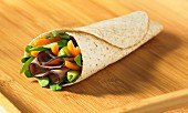 Roast beef pepper spinach whole wheat wrap