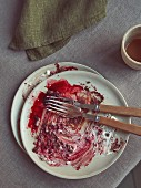 A cleared dessert plate