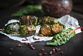 Fried chard rolls filled with beef (vegan)