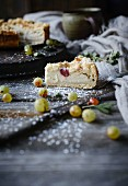Gooseberry and quark cake with streusel (vegan)