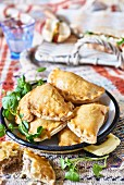 Pasties filled with sausage meat (picnic food)