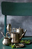 Silver teapots for making tea