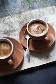 Two cups of espresso on a book