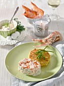 Pink prawn tartare with a potato rosti (Christmas)