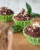 Chocolate cupcakes with buttercream and chocolate balls