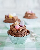Austrian chocolate cupcakes decorated with chocolate eggs