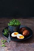 In Sojasauce marinierte Eier mit frischer Kresse