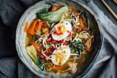 Pho soup with mushrooms, carrots, pak choi and eggs (Vietnam)
