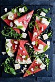 Vegan feta and watermelon salad with mint and rocket