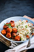 Beef meatballs with rice
