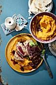 Fried sesame tuna fillets with sweet potato mash