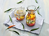 Pickled vegetables in spicy oil