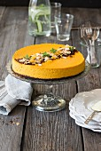 Chocolate and pumking cheesecake with toasted almonds