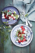 Strawberry Salad with Goats Cheese and Wild Rocket