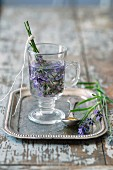 Lavender tea in a glass