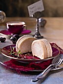 Pear mousse wrapped in Baumkuchen (Christmas)