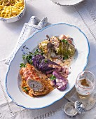 Three different roulades with spaetzle