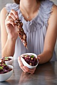 Marinated duck breast skewers with red cabbage