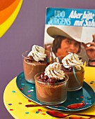 Chocolate mousse with cherries for a music party