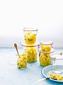 Homemade lemon pickle with lemon, ginger, green chillies and salt