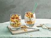 Fruit and yoghurt with cornflakes