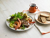 Surf And Turf (steak with prawns)
