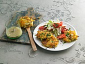 Potato and vegetable rostis with iceberg lettuce