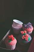 Cupcakes decorated with colorful fondant