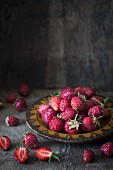 A plate of fresh strawberries