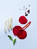Ingredients for beetroot ravioli
