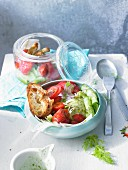 Gazpacho style bread salad with strawberries