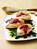 Cheesy-Stuffed Chicken with Cranberry
