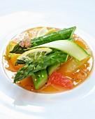 Asparagus on citrus fruit jelly