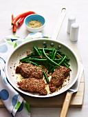 Kalbfleisch mit Dukkah und grünen Bohnen