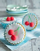 Cupcakes with marzipan cherries