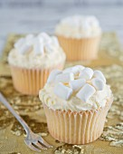 Cupcakes with buttercream and marshmallows