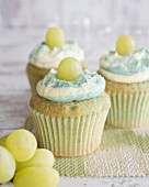 Cupcakes with green grapes