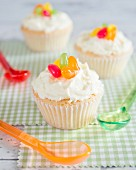 Cupcakes with buttercream and colourful jelly beans