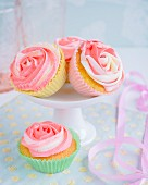 Cupcakes with rose frosting
