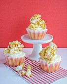 Cupcakes with buttercream and popcorn